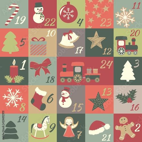 Kinder Weihnachtskalender.Adventskalender Mit Türchen Für Kinder Mit Weihnachtssymbolen Zum