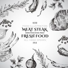Vector Meat Steak Sketch Drawi...