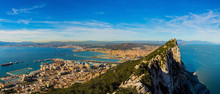 Amazing Panoramic View On The Rock Of Gibraltar And The City Aro