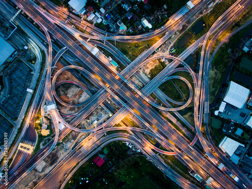 Spoed Fotobehang Nacht snelweg Highway junction from aerial view