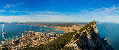 Amazing panoramic view on the rock of Gibraltar and the city aro Canvas