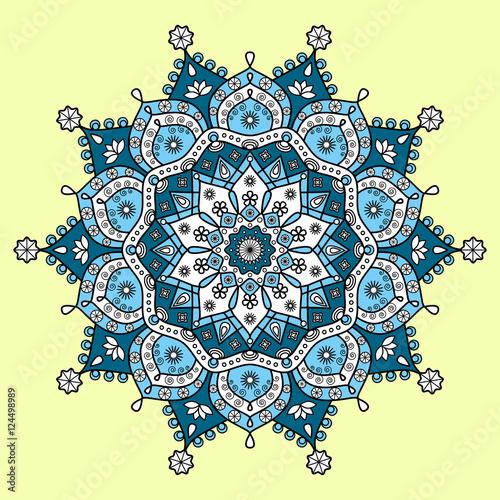 Hindu Floral Mandala Pattern In Dark Cyan Blue Light Blue