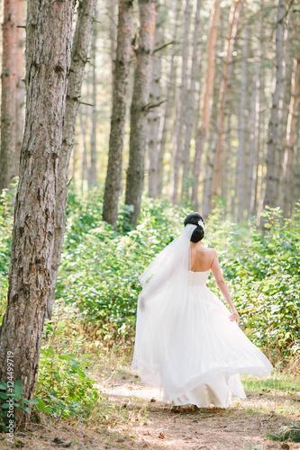 Fotografie, Obraz  Portrait of a beautiful bride outdoors.