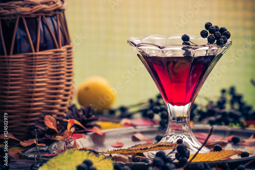 glass tincture chokeberry autumn vintage styling