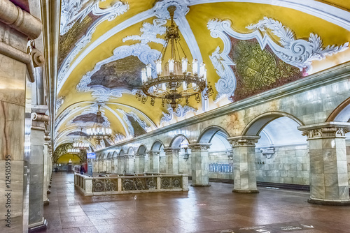 Poster Moscow Interior of Komsomolskaya subway station in Moscow, Russia