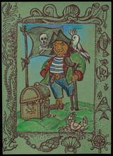 The One-legged Pirate Long John Silver With A Parrot On Her Shoulder And A Treasure Chest. A Character From The Novel By Robert Louis Stevenson - Treasure Island
