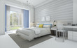 3d rendering nice white vintage bedroom with yellow and blue tone bed