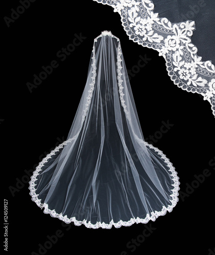 Fotografie, Obraz  Isolated wedding white veil on a black background.