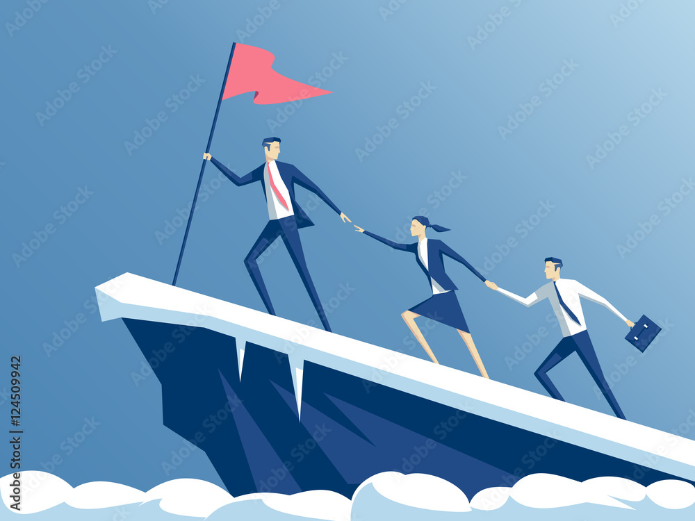 Fototapeta business people climb to the top of the mountain, leader helps the team to climb the cliff and reach the goal, business concept of leadership and teamwork