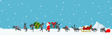 Santa And His Reindeer Are Walking Among Falling Snow