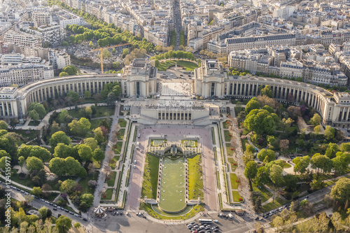 Photo  Aerial view from Eiffel Tower on Champ de Mars - Paris.