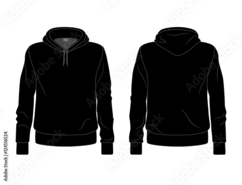 Black men\'s hoodie template, front and back view – kaufen Sie diese ...