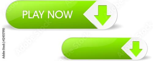 Fototapeta Green glossy play now button obraz na płótnie