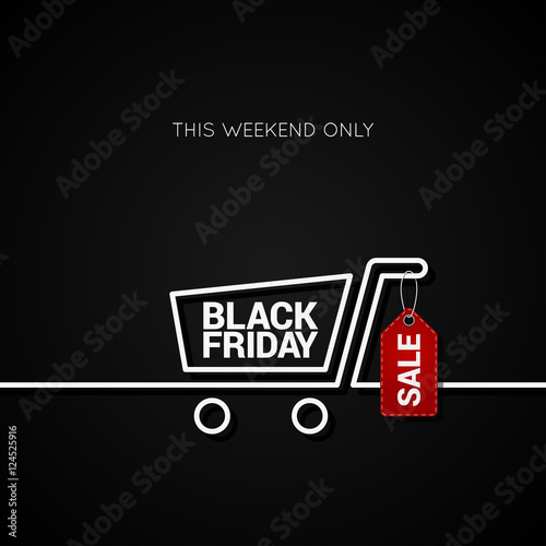 Fotografia  Black Friday sale tag and shopping background