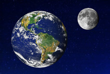 Earth And Moon In The Universe. Earth And Moon Image Provided By NASA