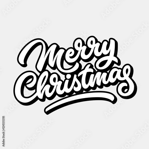 Merry Christmas, xmas badge with handwritten lettering