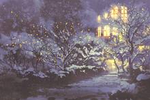 Night Scenery Of Snowy Winter Alley In The Park With Christmas Lights On Trees,illustration Painting