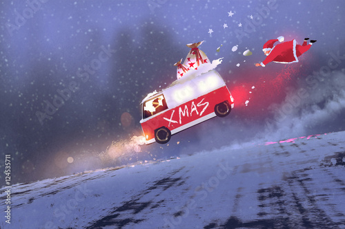 funny scene of santa claus and the van with christmas gift bags jumping on winter road,illustration painting