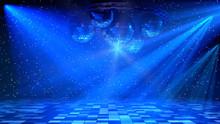 Blue Disco Dance Floor With Mi...