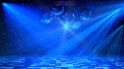 Blue disco dance floor with mirror balls, lattice circle and spot lights. 3d ...