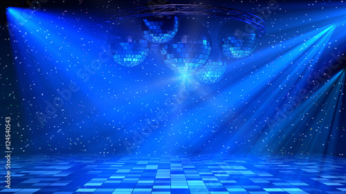 Blue disco dance floor with mirror balls, lattice circle and spot lights. 3d render.