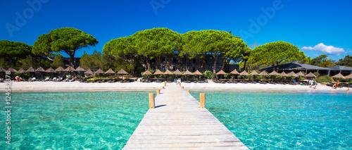 Deurstickers Tropical strand Bridge in the lagoon of the Santa Giuliana beach, Corsica, France, Europe.
