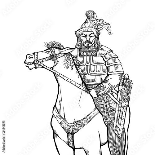 Fotografie, Obraz  Khan Mongolian nomad on horseback
