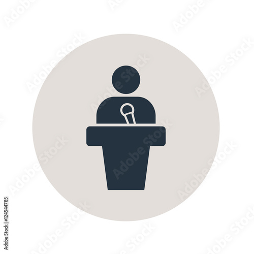 Icono plano orador en circulo gris Wallpaper Mural