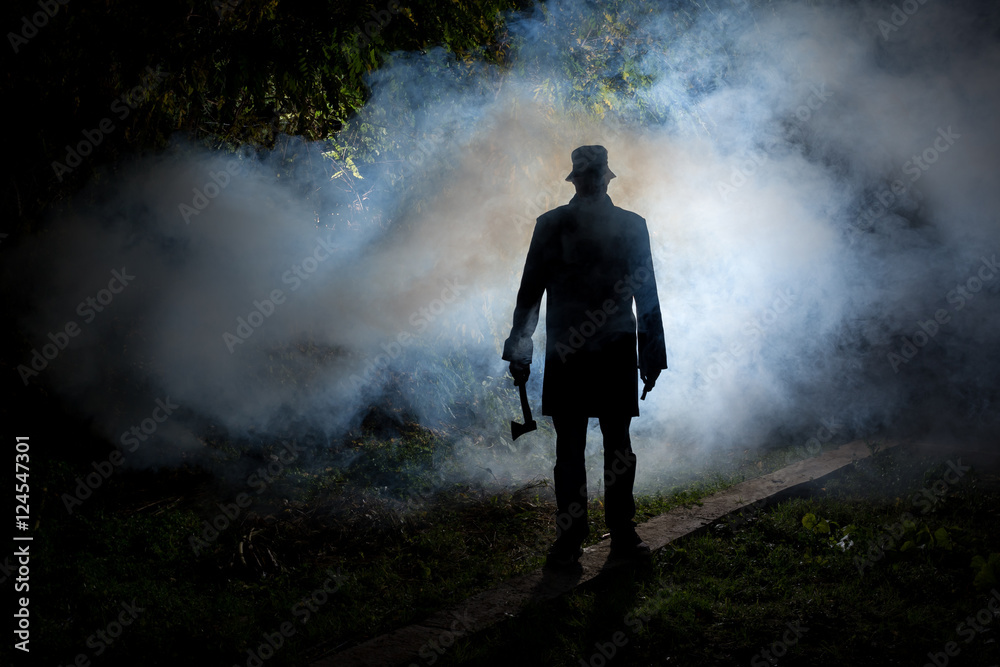 Fototapeta spooky man wih axe in the dark smoke filled forest