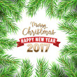 Merry Christmas and Happy New Year Christmas Tree Fir Branches Winter Holidays Greeting Card. Vector illustration