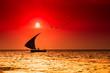 canvas print picture - Silhouette eines Segelbootes im Sonnenuntergang