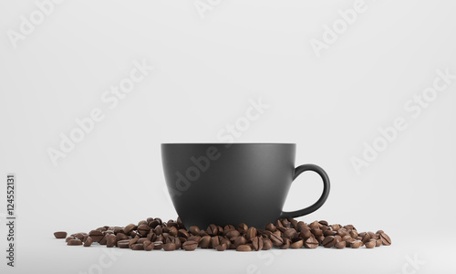 In de dag Cafe Black cup of coffee against white background