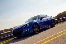 Angled Front Blue Sports Car
