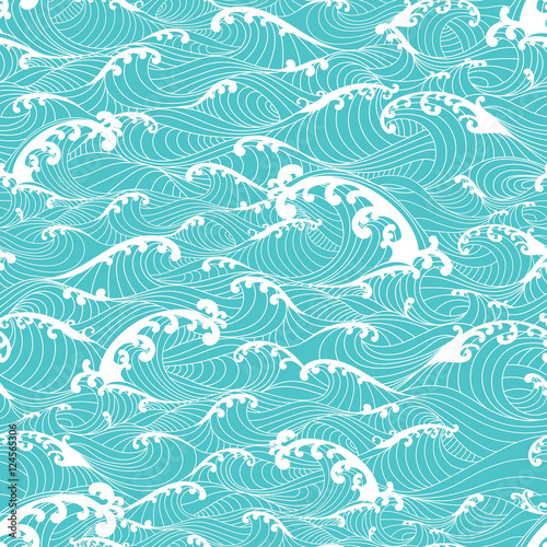 Photographie  Ocean waves, stripes pattern seamless hand drawn Asian style