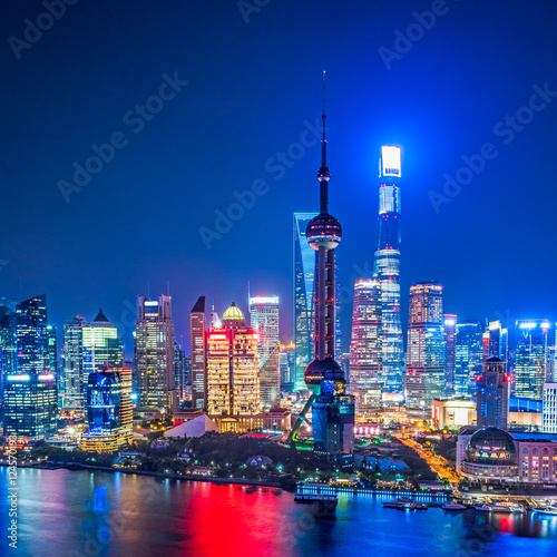 Shanghai Skyline at Night in China.