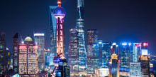 Shanghai Skyline At Night In C...