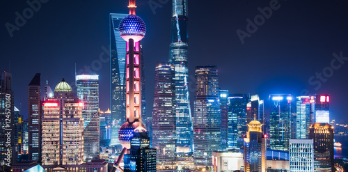 Photo Stands Shanghai Shanghai Skyline at Night in China.