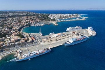 Rhodes, Greece - Aerial view of the old town and port.