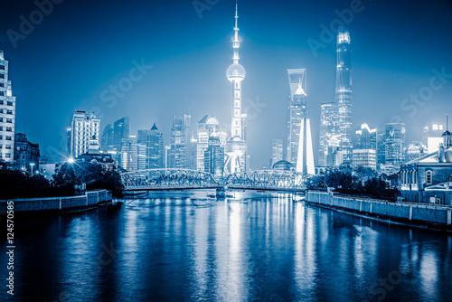 фотография  Shanghai Skyline at Night in China.