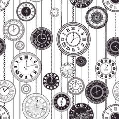 Fototapeta Czarno-Biały Vector vintage clock dials set