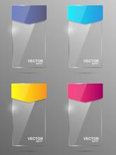 Glass Banner Set. Design Template.