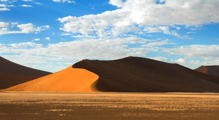 Fototapeta na wymiar Deep shadows on Sossusvlei dunes at sunrise in Namib desert, Namibia