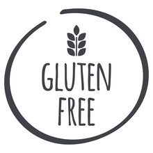 Grey Gluten Free Circle Logo, Vector Symbol For Food