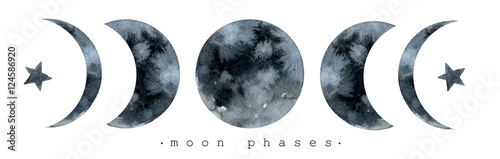 Obraz Moon various phases. Trendy watercolor illustration isolated on white background - fototapety do salonu