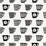 Seamless Coffee Cups Pattern - 124590173