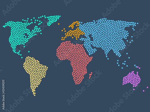 Obraz na plátně  Dotted world map, stock vector illustration