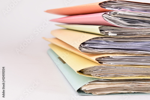 Photo  paperwork Stacked files on isolated background