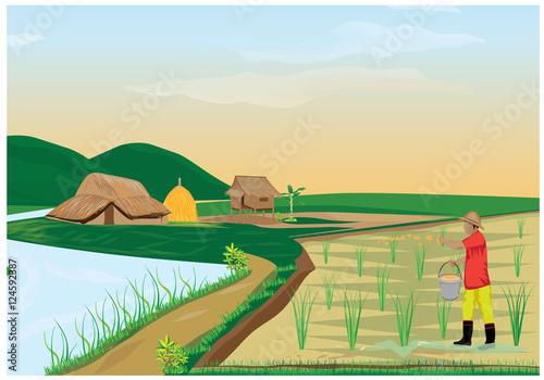 Poster Ranch lifestyle of farmer vector design