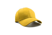 Closeup Of The Fashion Yellow Cap Isolated On White Background.