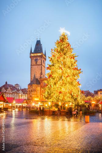 Christmas Market Prague, Czech Republic Canvas Print